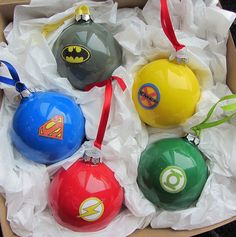 Super Hero Ornaments by nikimaki, via Flickr