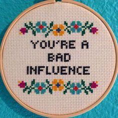 "Pattern: Cross Stitch ""You're A Bad Influence"" PATTERN PDF FILE (2.50 USD) by StitchBitchDarling"
