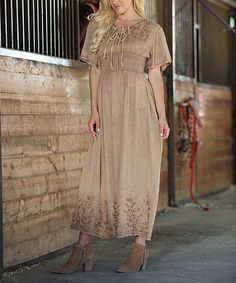 Look what I found on #zulily! Camel Embroidered Shirred-Waist Maxi Dress #zulilyfinds