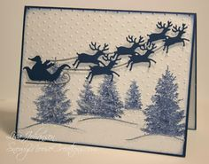 Scenic Season, Santa and Reindeer Die, Jingle Belles Christmas Cards 2017, Beautiful Christmas Cards, Holiday Cards, Christmas Tables, Impression Obsession Cards, Winter Karten, Santa And Reindeer, Santa Sleigh, Winter Cards