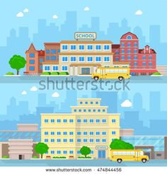 Flat school bus and building facade entrance set vector illustration. Back to…