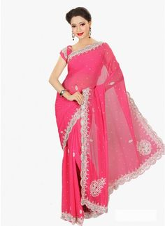 Enigmatic Deep Pink #Chiffon based Embellished #Saree