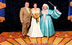 Adorable real couple Dan and Cathy renewed their vows after he surprised her with a fairy tale proposal involving the Fairy Godmother! @Benjamin Fillmore you don't have to wait 25 years....