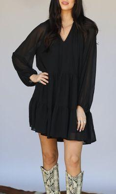 Cowgirl Kim Black Mini Boho Ruffle Dress #4620 - Cowgirl Delight Cute Black Dress, Western Dresses, Tall Boots, Paisley Print, Ruffle Dress, Long Sleeve, Casual, Fashion, Outfit