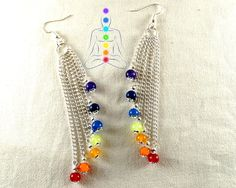 7 Chakras silver earrings,7 chains with gem beads : amethyst,lapis lazuli and jade by CapricesDeParisienne on Etsy