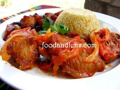 Stewed turkey wings, tricolour couscous and plantains (Nigerian based dish- couscous substituted for fried rice)