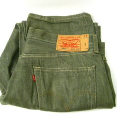 Levi 501 Jean Green 38 x 31 Original Button Fly Straight Leg 5 Pockets Cotton #Levis #Relaxed