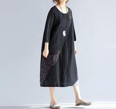 black cotton and linen round collar loose dress Women от MaLieb