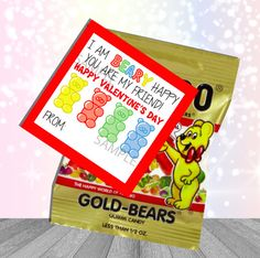 Shop for on Etsy, the place to express your creativity through the buying and selling of handmade and vintage goods. Bear Valentines, Happy Valentines Day, Valentine Gifts, Homemade Gifts For Mom, Diy Gifts, Advent Calendar Gifts, Gummy Bears, Holiday Treats, Teacher Gifts