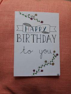 """Kaartje handlettering """"happy birthday to you"""""""