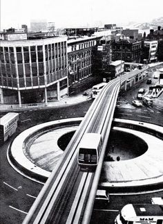 Abandoned Sheffield Minitram monorail passes over the Hole in the Road at Castle Square