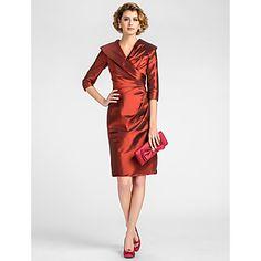 Sheath/Column V-neck Knee-length Taffeta Mother of the Bride Dress –What do you think of this one Jordan?