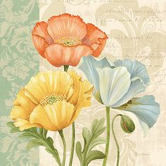 RB8746PG <br> Pastel Poppies Multi I <br> 18x18