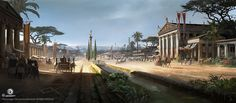 View an image titled 'Alexandria Canopic Way Art' in our Assassin's Creed Origins art gallery featuring official character designs, concept art, and promo pictures. Assassins Creed Origins, Assassins Creed Odyssey, Fantasy Art Landscapes, Fantasy Landscape, Environment Concept Art, Environment Design, Renaissance, Japan Architecture, Fantasy Places
