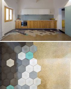 19 Ideas For Using Hexagons In Interior Design And Architecture // The floor in this Barcelona apartment has hexagonal tiles that compliment the blue found throughout the interior.