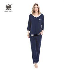 NORA TWIPS 2017 Spring Style Women's Soft Cotton V-necked two-piece Homewear Pajama Sets(XS-XL) Navy Blue/Black kigurumi Onesie #Affiliate