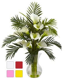The Faux Calla Lily and Palm in Water will make a warm and welcoming addition to your home or office. 27 inches high x 22 inches in diameter. Tropical Floral Arrangements, White Flower Arrangements, Vase Arrangements, Flower Vases, Flower Pots, Flowers Garden, Summer Flowers, White Flowers, Beautiful Flowers