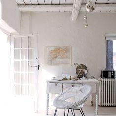 Wohnideen Arbeitszimmer Home Office Büro - Vintage-Stil weißen Home-Office