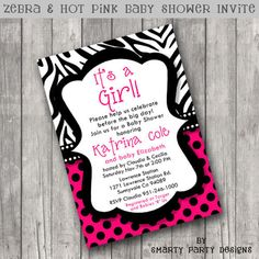 Wild Zebra Polka dot Hot Pink Baby Girl by SmartyPartyDesigns