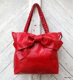 Leather+Bow+Bag+in+Distressed+Scarlet+Red+Medium+/+by+stacyleigh,+$375.00