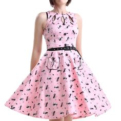 Pink Pin Up Dress with Cats | Crazyinlove International