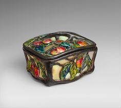 Covered Box  Designer: Designed by Louis Comfort Tiffany (American, New York 1848–1933 New York) Maker: Tiffany Glass and Decorating Company (1892–1902) Maker: (Stourbridge Glass Company)
