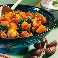 Kürbis mit Datteln und Spinat Rezept   Küchengötter
