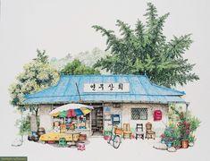 Приятные рисунки южнокорейских магазинчиков