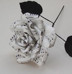 Beautiful single paper rose made from vintage music sheet. Paper flower, gift, birthday, 1st wedding anniversary, valentine, love by AlanaPhoenixandCo on Etsy