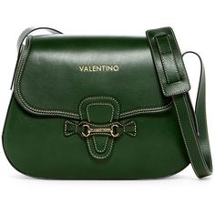 Valentino By Mario Valentino Lucy Leather Saddle Bag ($430) ❤ liked on Polyvore featuring bags, handbags, shoulder bags, antic green, green shoulder bag, green handbags, green purse, shoulder strap bags and genuine leather purse