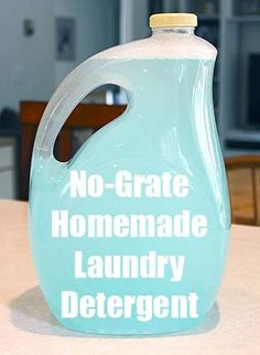 homemade laundry detergent-water, borax washing soda, and dawn or as I prefer castile soap, shake and done.