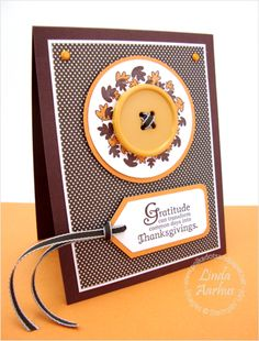 clean and simple . brown, cream and orange . Stampin' Up! Card Making Inspiration, Making Ideas, Cute Cards, Diy Cards, Fall Cards, Holiday Cards, Fall Paper Crafts, Paper Crafting, Scrapbook Examples