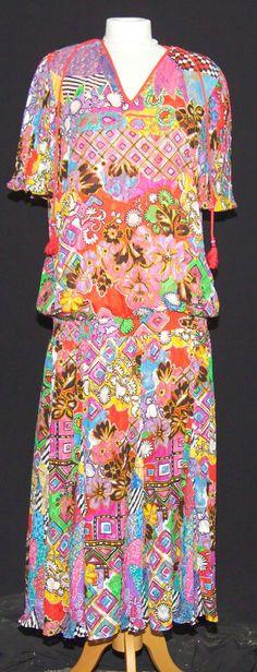 RARE VINTAGE 1980 s DIANE FRES STATEMENT DRESS FLAPPER TEA PSYCHEDELIC 10/12    £45.00 (BIN)