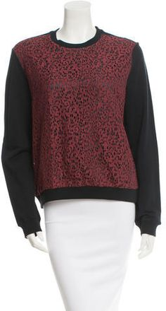 Black Carven sweatshirt with crew neck, red lace overlay at front and rib knit trim. Carven, Red Lace, Lace Overlay, Sustainable Fashion, Rib Knit, Crew Neck Sweatshirt, Turtle Neck, Sweatshirts, Hoodies
