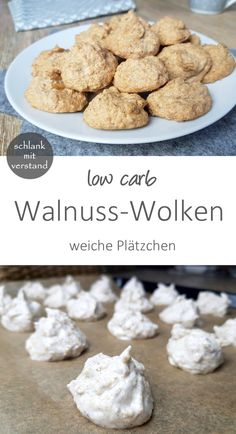 low carb Walnuss-Wolken Das sind weiche low carb Makronen mit Walnüssen und ein… low carb walnut clouds These are soft low carb macaroons with walnuts and a hint of cinnamon. Very tasty and quickly prepared cookies with low carbohydrates. Healthy Low Carb Dinners, Low Carb Chicken Recipes, Healthy Low Carb Recipes, Low Carb Dinner Recipes, Low Carb Desserts, Healthy Dessert Recipes, Cake Recipes, Healthy Food, Muffin Recipes