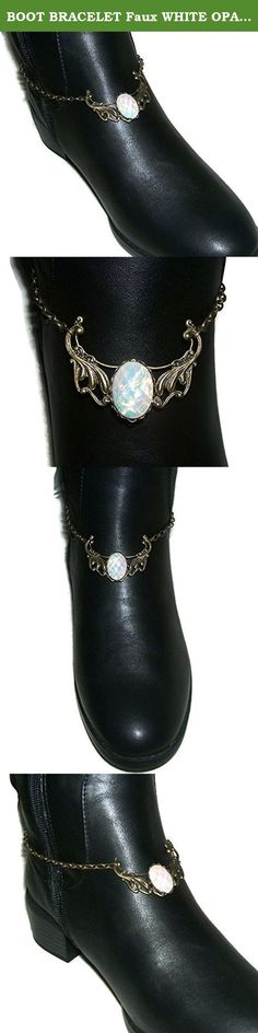 BOOT BRACELET Faux WHITE OPAL Bronzetone Chain Anklet Or Choker Necklace. This listing is for ONE bronze plated boot chain bracelet that features a fabulous resin faux White Opal. There are gorgeous flashes of colors and lots of sparkle in this faceted cabochon. If you want a matching boot chain for both of your boots then you will need to make sure you order two of them. (many customers like to wear just one so that is why they are not sold as a pair but individually) The center design...