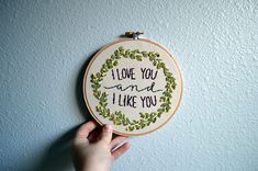 I Love You & I Like You - Parks and Recreation Quote, Embroidery Hoop Art, Leslie Knope Quote, Wall Hanging, Pop Culture Artwork, Ben Wyatt