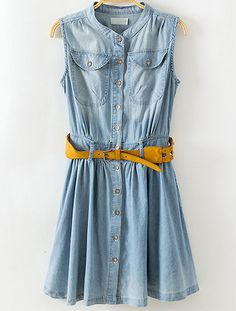 Blue Stand Collar Sleeveless Pockets Denim Dress - abaday.com