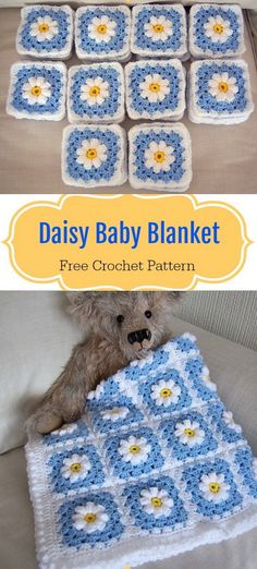 Crochet Daisy Granny Square Baby Blanket Free Pattern This is such a pretty granny square blanket with a field of daisies. The Daisies are puffy, so it Sunburst Granny Square, Granny Square Bag, Granny Square Crochet Pattern, Crochet Blanket Patterns, Baby Granny Square Blanket, Crochet Blocks, Afghan Patterns, Square Patterns, Crochet Granny
