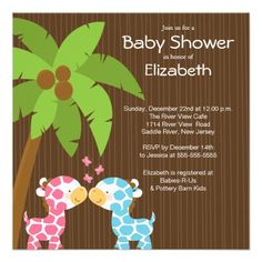 Jungle Giraffe Multiple Baby Shower Invitations! Make your own invites more personal to celebrate the arrival of a new baby. Just add your photos and words to this great design.