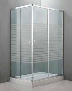 Mampara rectangular mod. Mittos para plato de ducha de baño principal, con vidrio de seguridad serigrafiado y perfilería acabado cromo.