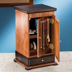 Build your own mitered jewelry cabinet using this free downloadable plan.