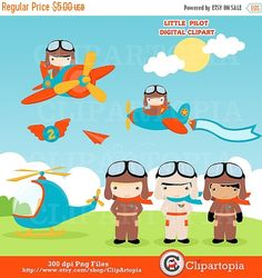 50%OFF SALE Little Pilot digital clipart / Aviator Clip art / Cute Airplane, Plane clipart for personal and commercial use