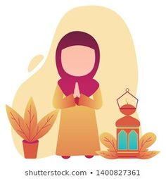 Eid Mubarak Vector Little Girl Lamp Stock Vector (Royalty Free) 1400827361 Eid Mubarak Vector, Avatar, Little Girls, Royalty Free Stock Photos, Animation, Goals, Illustration, Artist, Cute