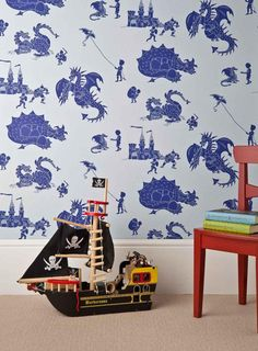 PaperBoy 'ere-be-dragons' Blue wallpaper by PaperBoy | JUST KIDS WALLPAPER