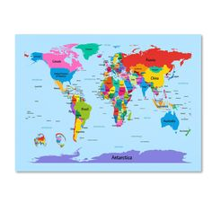 'Childrens World Map' by Michael Tompsett Graphic Art on Canvas