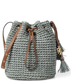 Seaglass:Lauren Ralph Lauren Goswell Collection Janice Tasseled Straw Drawstring Bag
