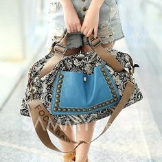 $9.77 Ethnic Style Women's Tote Bag With Rivets and Splice Design