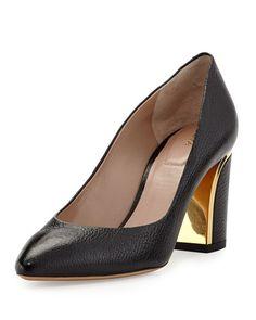 $775.00 Chloe Leather Curved-Heel Pump, Black