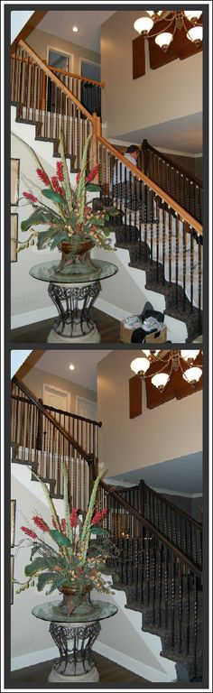 Before and after gel stain handrails.  From honey oak to expresso